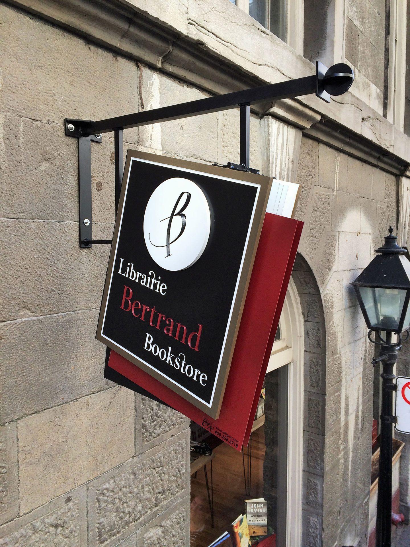 Enseigne librairie en metal et aluminium 3d Vieux-Montreal