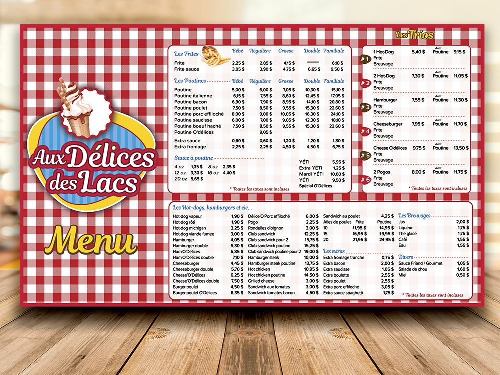 logo, menu, imprimé, Délice des lacs